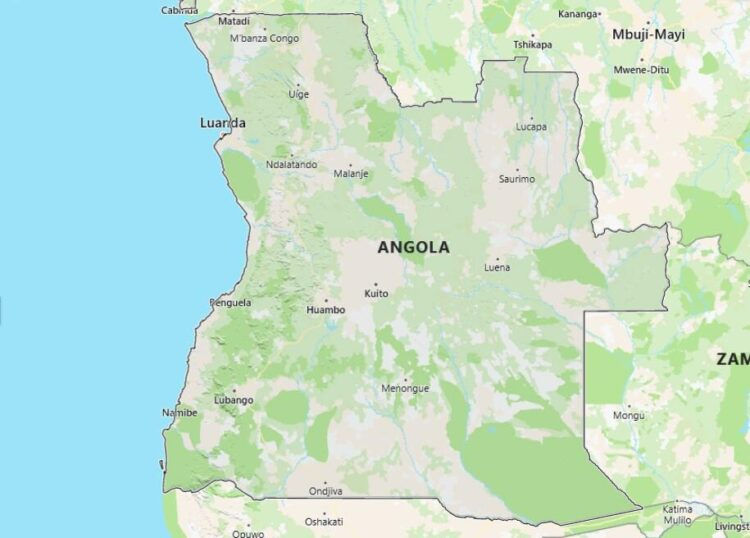Angola Map with Surrounding Countries