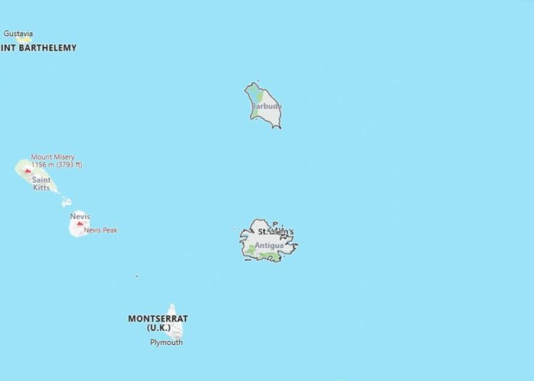 Antigua and Barbuda Map with Surrounding Countries