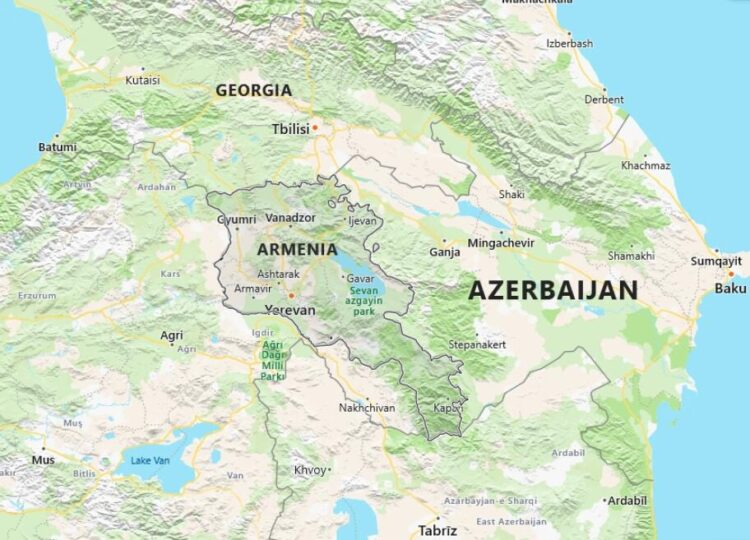 Armenia Map with Surrounding Countries