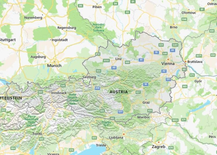 Austria Map with Surrounding Countries