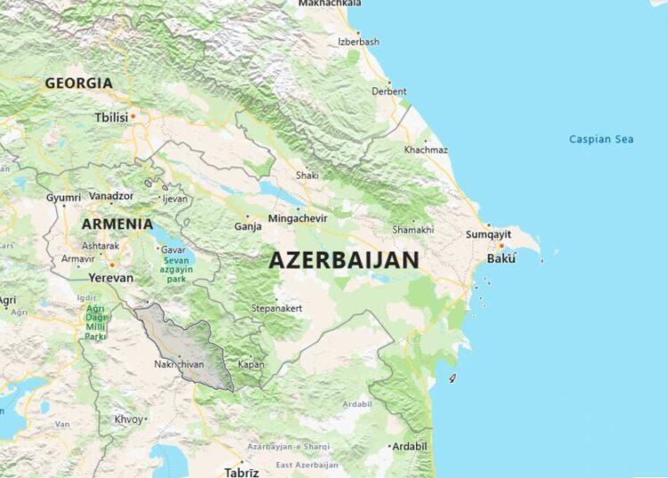 Azerbaijan Map with Surrounding Countries