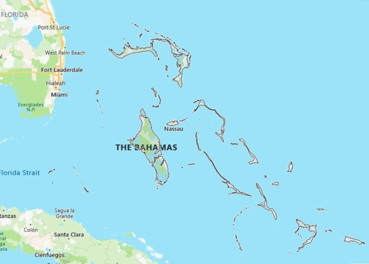 Bahamas Map with Surrounding Countries