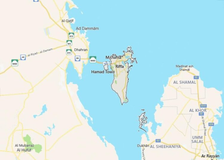 Bahrain Map with Surrounding Countries