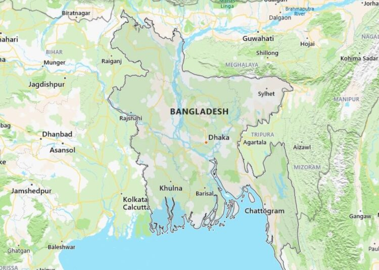 Bangladesh Map with Surrounding Countries