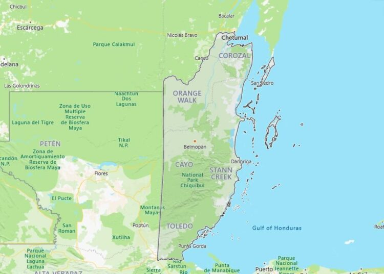 Belize Map with Surrounding Countries