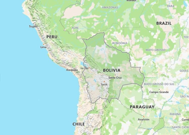 Bolivia Map with Surrounding Countries