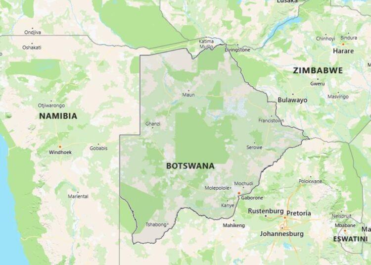 Botswana Map with Surrounding Countries