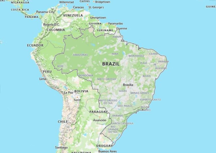 Brazil Map with Surrounding Countries