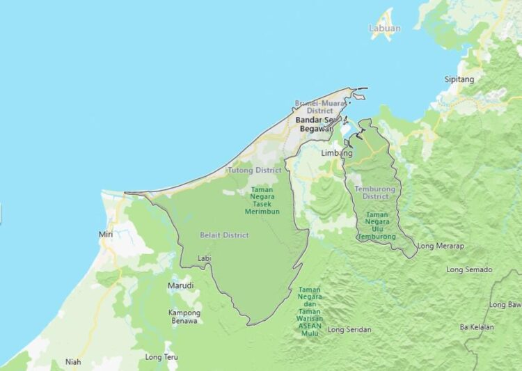 Brunei Map with Surrounding Countries