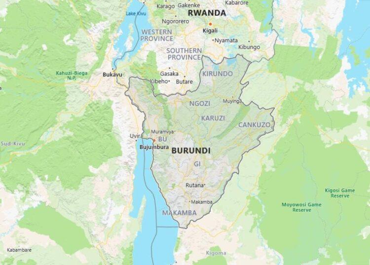 Burundi Map with Surrounding Countries