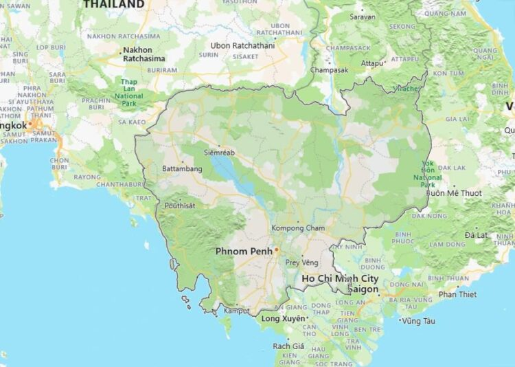 Cambodia Map with Surrounding Countries