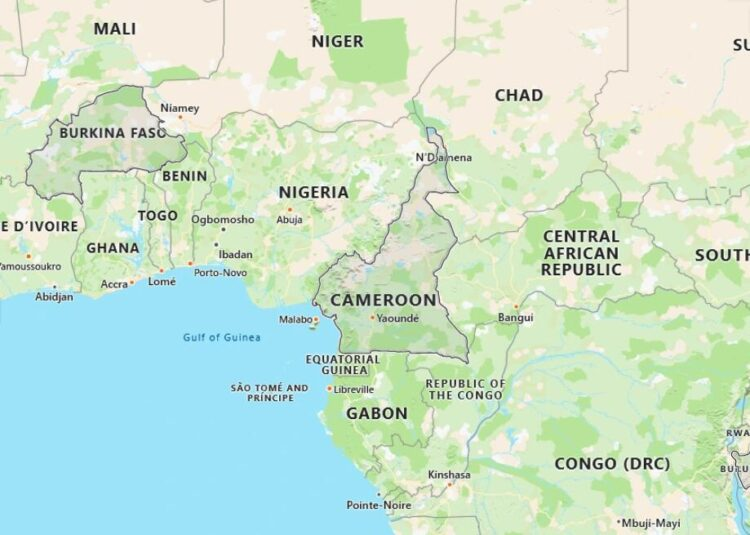Cameroon Map with Surrounding Countries