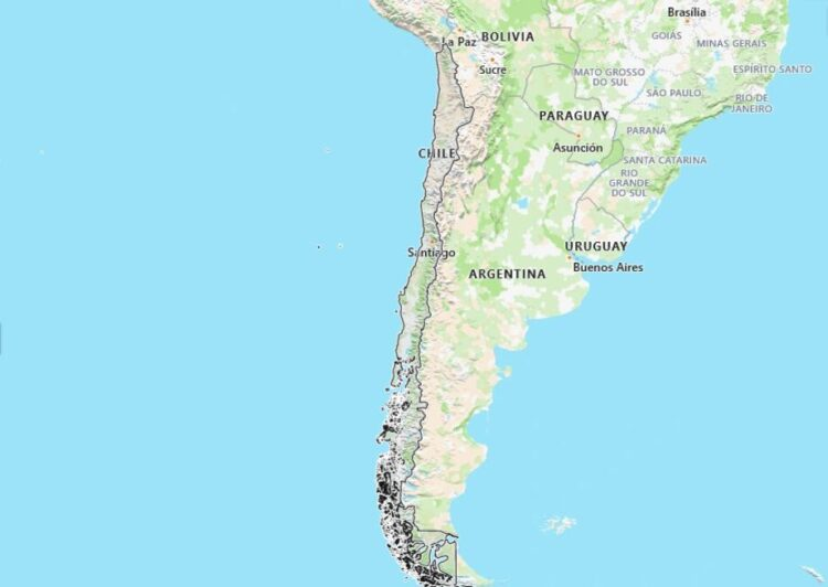 Chile Map with Surrounding Countries