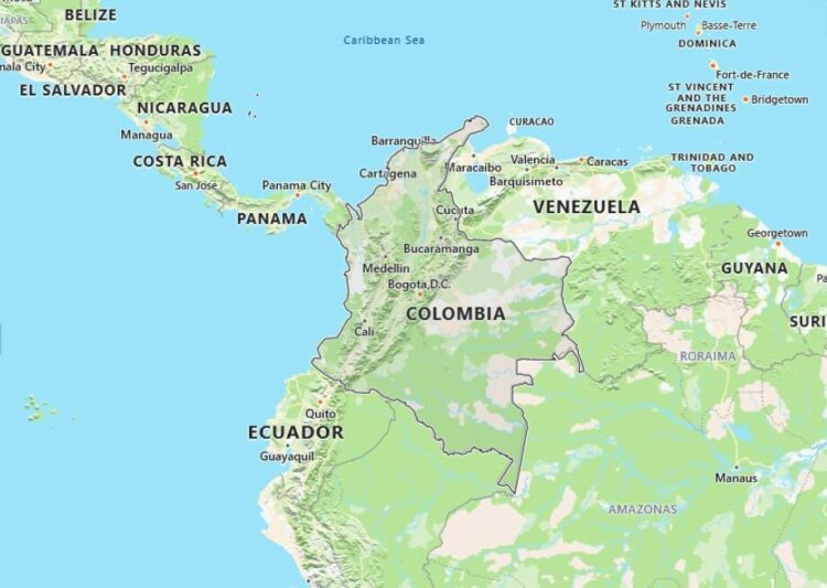 Colombia Map with Surrounding Countries