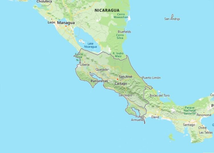 Costa Rica Map with Surrounding Countries