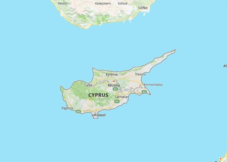Cyprus Map with Surrounding Countries