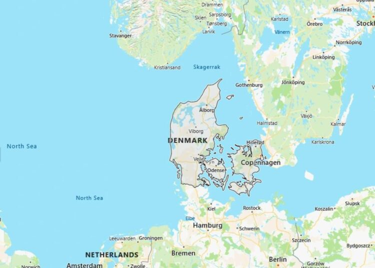 Denmark Map with Surrounding Countries