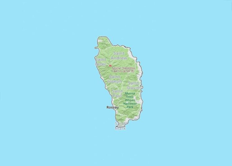 Dominica Map with Surrounding Countries