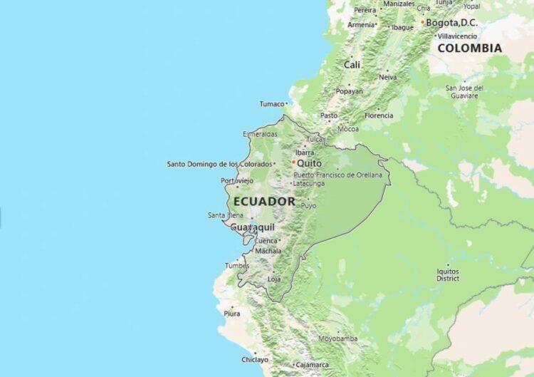 Ecuador Map with Surrounding Countries