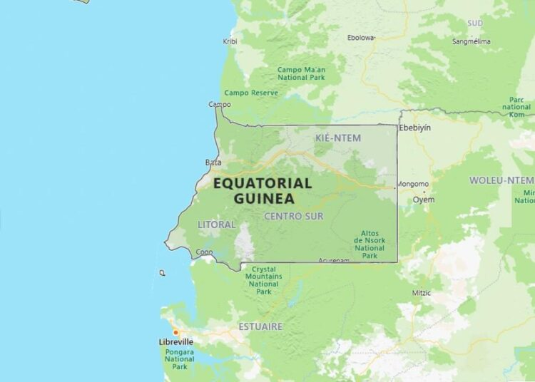 Equatorial Guinea Map with Surrounding Countries