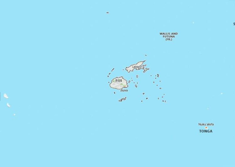 Fiji Map with Surrounding Countries