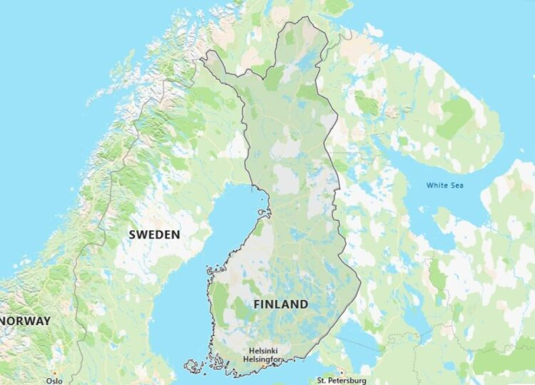 Finland Map with Surrounding Countries