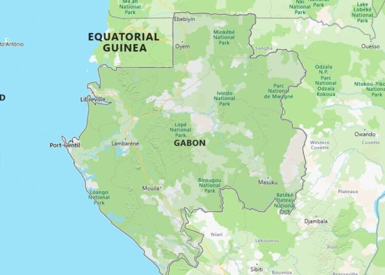 Gabon Map with Surrounding Countries