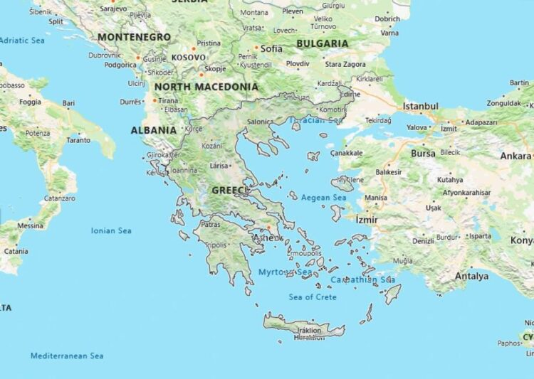 Greece Map with Surrounding Countries