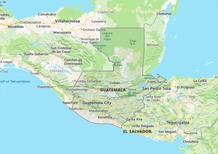 Guatemala Map with Surrounding Countries