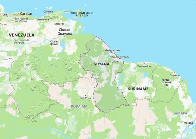 Guyana Map with Surrounding Countries