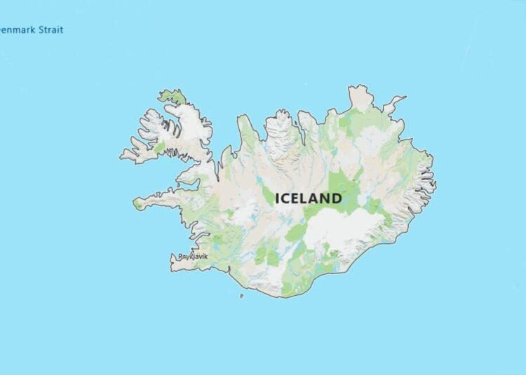 Iceland Map with Surrounding Countries