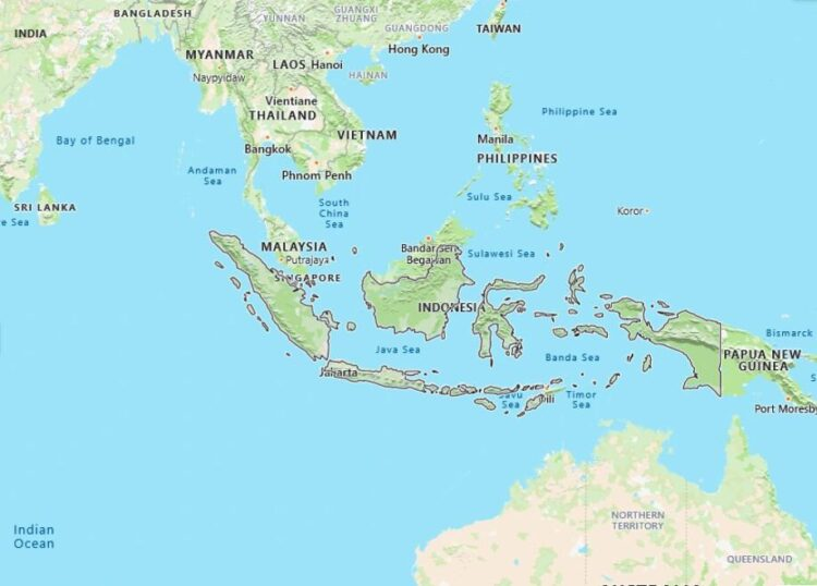 Indonesia Map with Surrounding Countries
