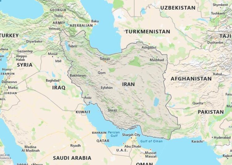 Iran Map with Surrounding Countries