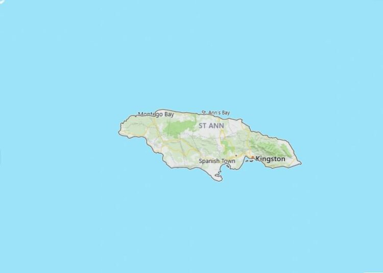 Jamaica Map with Surrounding Countries