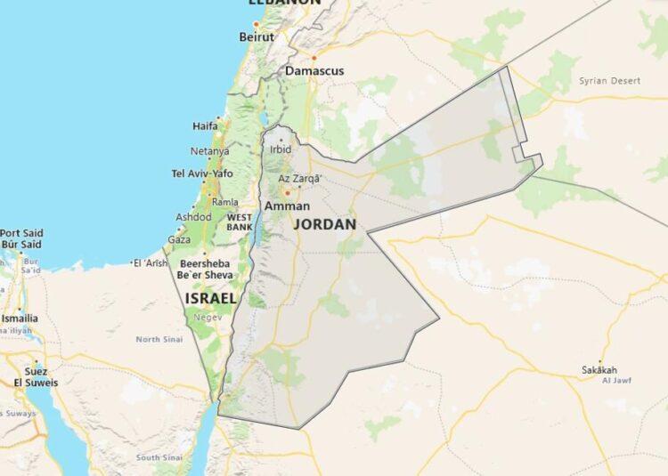 Jordan Map with Surrounding Countries