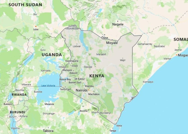 Kenya Map with Surrounding Countries