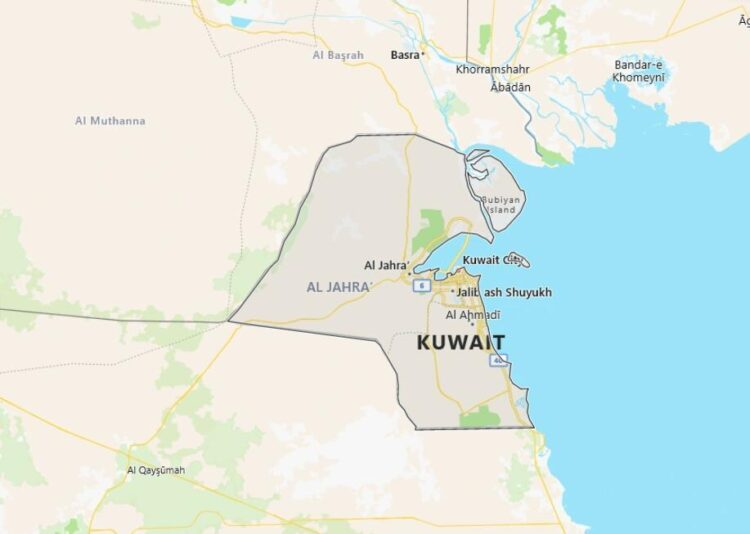 Kuwait Map with Surrounding Countries