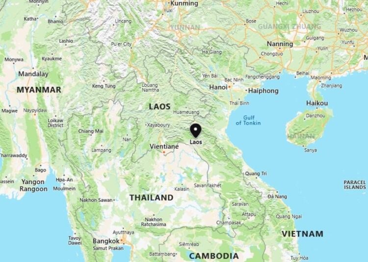 Laos Map with Surrounding Countries