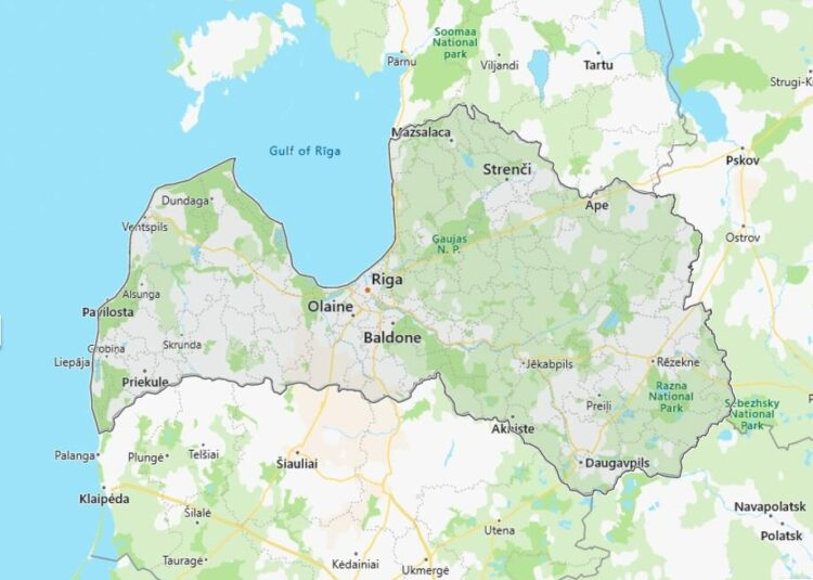 Latvia Map with Surrounding Countries