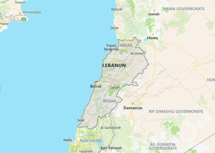 Lebanon Map with Surrounding Countries