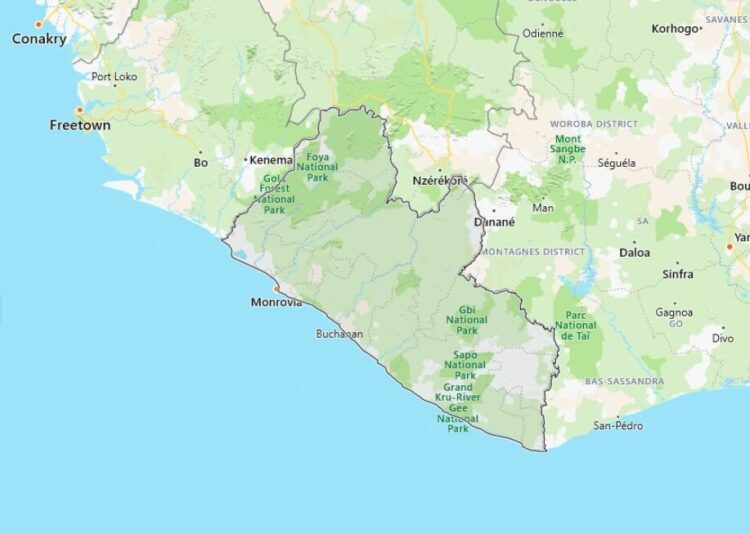 Liberia Map with Surrounding Countries