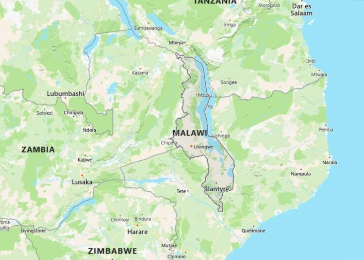 Malawi Map with Surrounding Countries