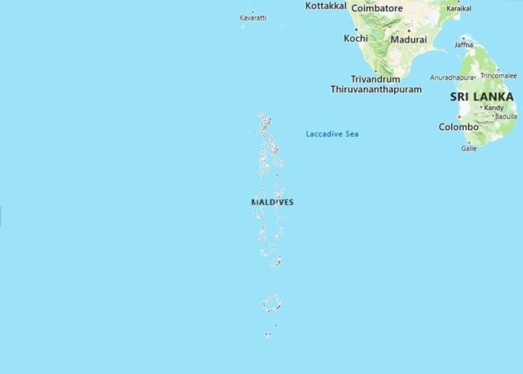 Maldives Map with Surrounding Countries