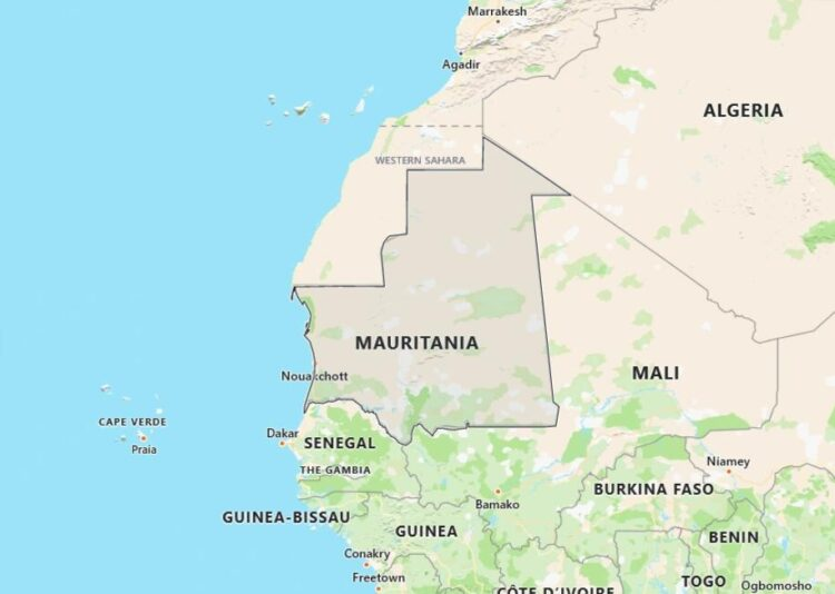 Mauritania Map with Surrounding Countries