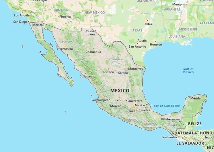 Mexico Map with Surrounding Countries
