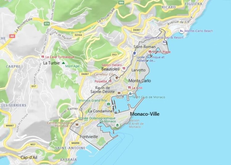 Monaco Map with Surrounding Countries