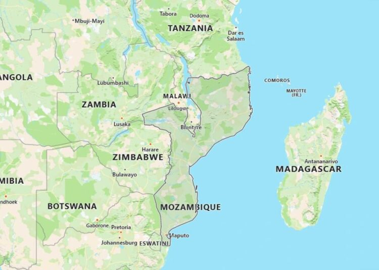 Mozambique Map with Surrounding Countries