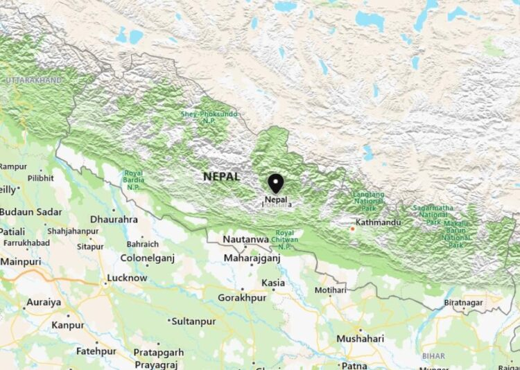 Nepal Map with Surrounding Countries