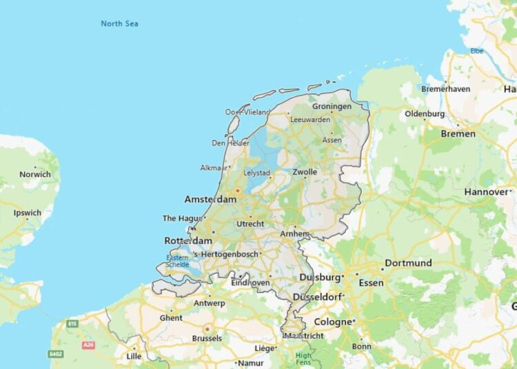 Netherlands Map with Surrounding Countries