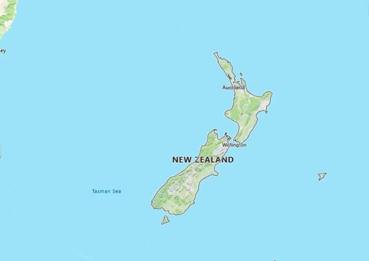 New Zealand Map with Surrounding Countries